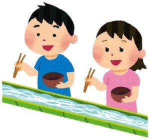 そうめんを食べる2人の子供