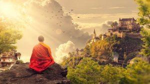 町を眺める僧侶