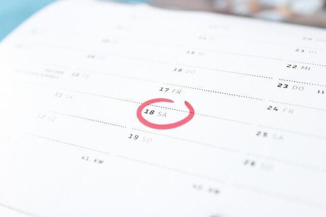 カレンダーに丸印